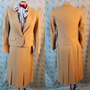 Pendleton suit fitted wool a line pleated skirt  8